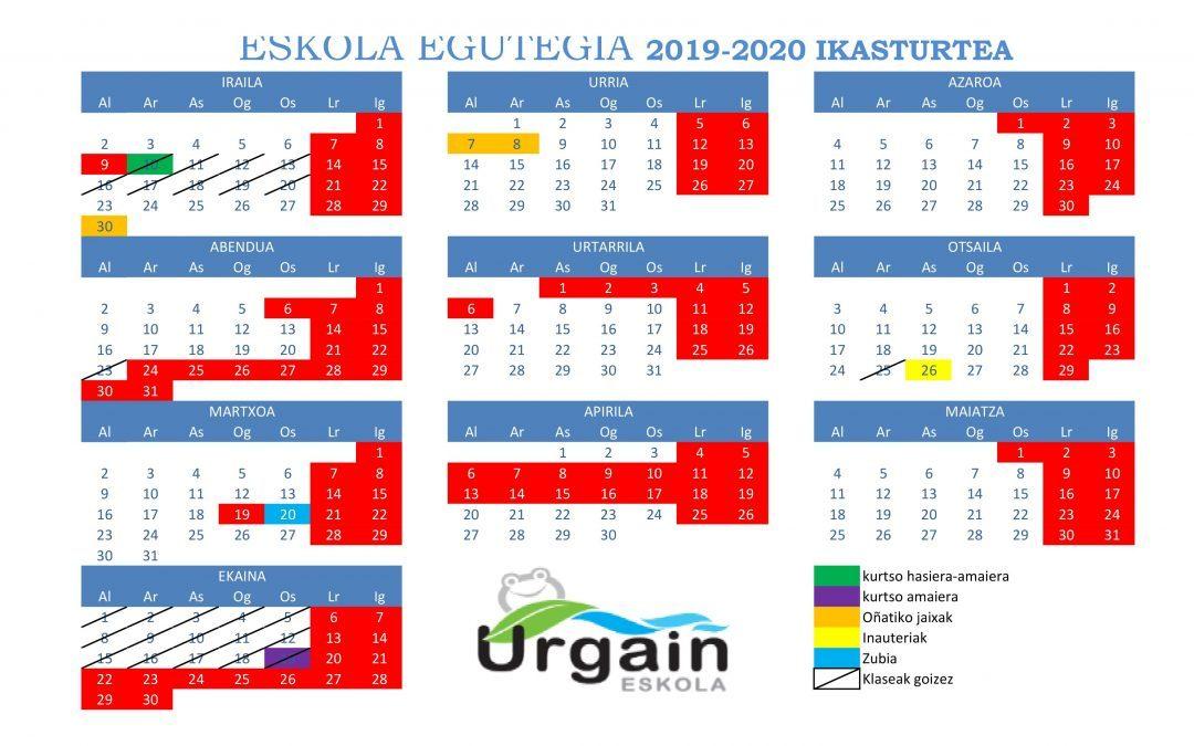 2019/20 IKASTURTEKO EGUTEGIA